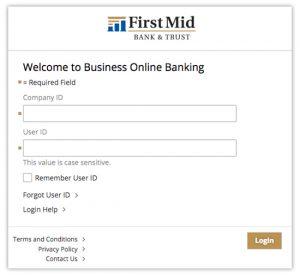 image of business online banking login screen