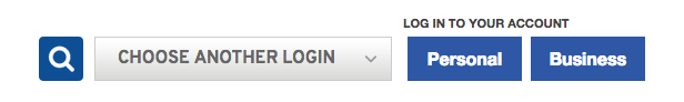 Online Banking log in buttons are in upper right corner of page.