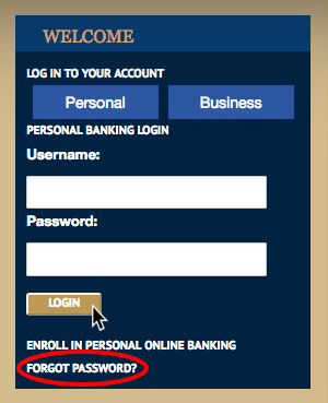 Image of Welcome Box expanded to show Online Banking login fields.
